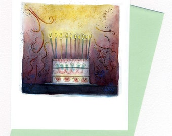 Birthday Cake  Card Original Watercolor