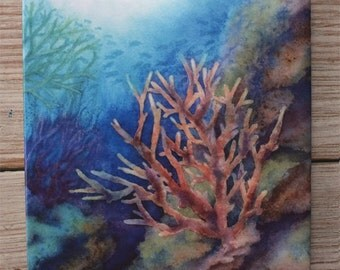 Underwater Coral Tile Trivet Origianl Watercolor Sea Life