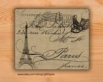 Mouse pad Eiffel Tower Paris France Dove burlap background Mousepad