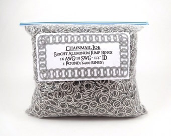 "1 Pound Bright Aluminum Chainmail Jump Rings 18G 1/4"" ID (6400+ Rings!)"