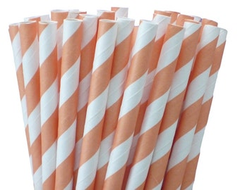 25 Orange Cantaloupe Stripe Paper Straws-7.75 Inches-Party Straws-Shower-Wedding-Party-Biodegradable