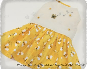 Honey Bee Dog Dress - XS,S,M,L,XL - Spring Pet Dress, Dog Clothes, Pet Apparel, Birthday Party Dog Dress, Flower Girl Dog Dress,Summer Dress