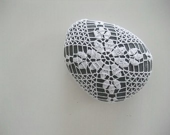 crocheted / lace stone, pebble, home deco, paper weight, handmade gift