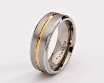 8mm Two Tone Titanium Wedding Band