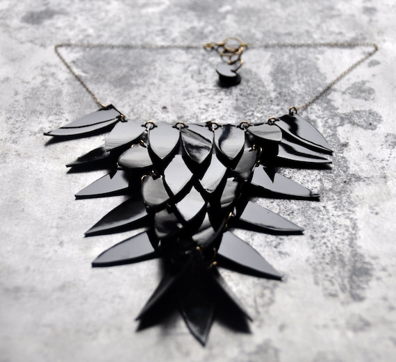 Crow statement necklace in black patent - Handmade in the UK from reclaimed leather - Perfect for Halloween, bird necklace