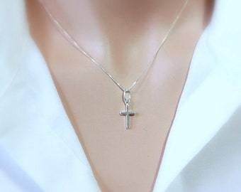 Tiny Sterling Silver Cross Necklace, Baptism Necklace, Confirmation Necklace, Godmother Gift, Goddaughter Gift Necklace, Gift for Her