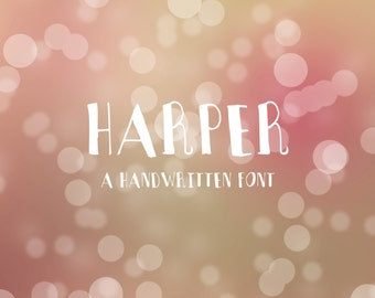 Hand written font - HARPER FONT - instant download