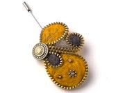 Unusual Zipper Pin Brooch, Yellow and Grey Felt Brooch, Pinki Handmade Jewelry
