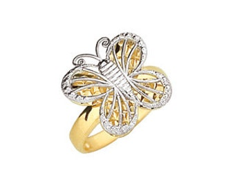 14k gold two tone butterfly ring.