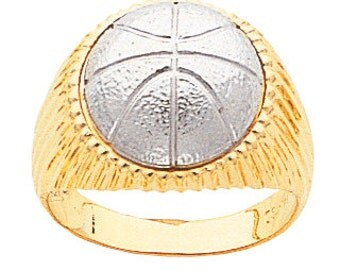 14k gold two tone basketball men's ring.
