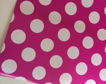 Hot Pink Polka Dot Wrapping Paper (30 in x  12 ft), Pink Gift Wrap, Hot Pink Gift Wrap, Pink party supply, fuchsia wrapping paper,