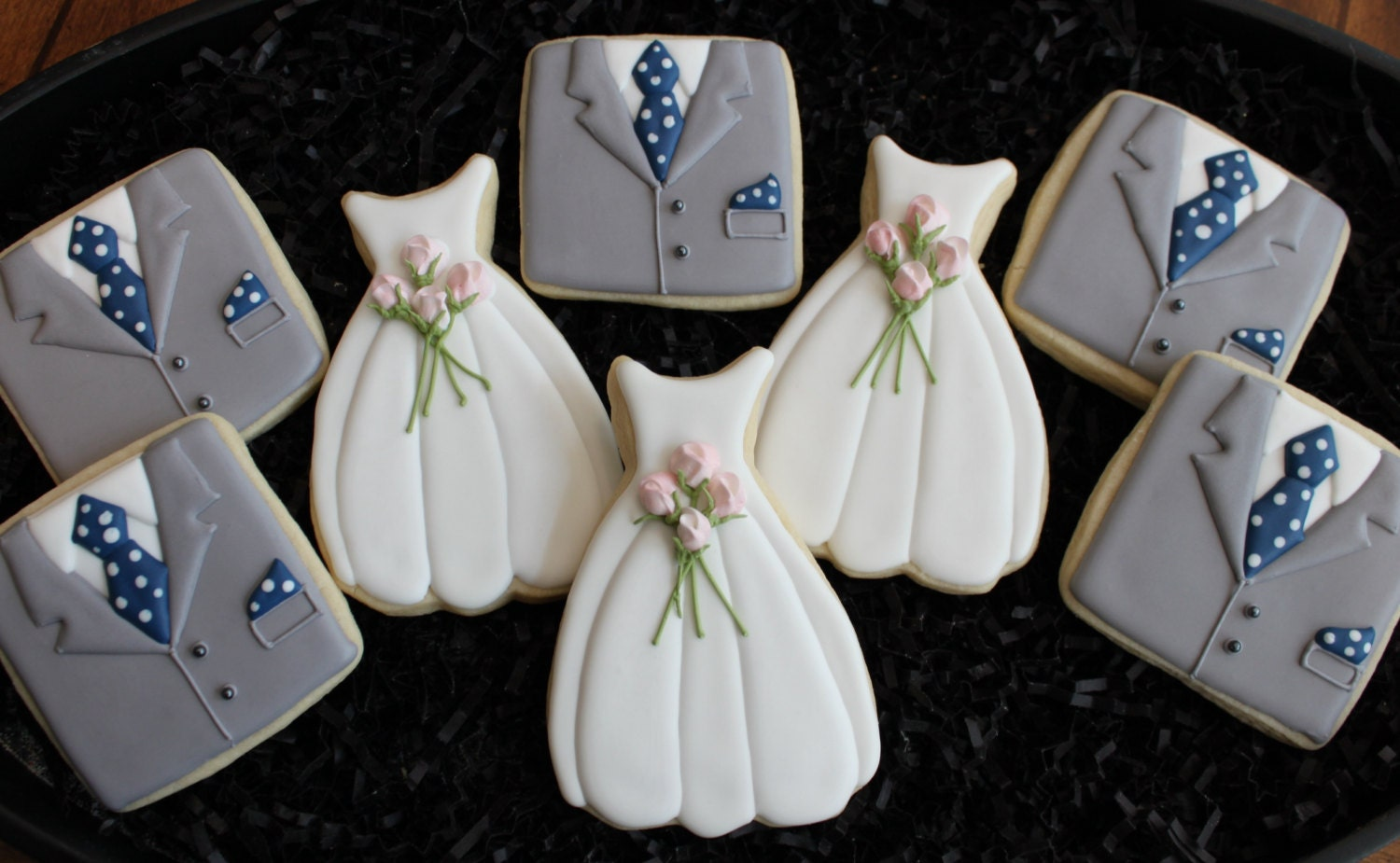 Wedding Cookies, Wedding Dress Cookies, Tux Cookies, Custom Cookies, Will You Be My Bridesmaid, Bridal Shower Cookie Favors