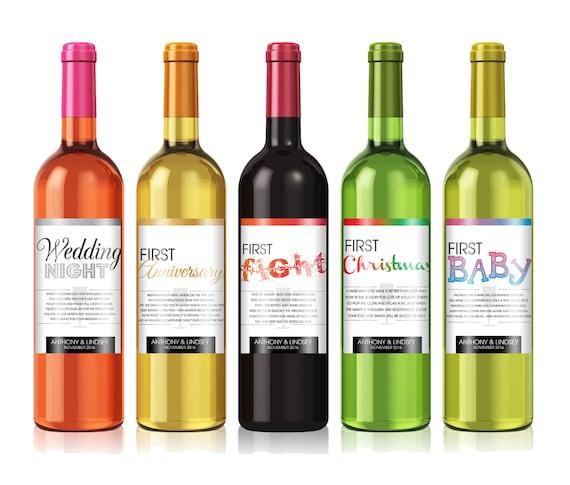 Bridal Shower Wine Poem Wedding Firsts Wine Gift Sets