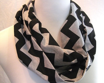 Black on Heather Gray Grey Jersey Knit Chevron medium length adult or Youth Infinity Scarf