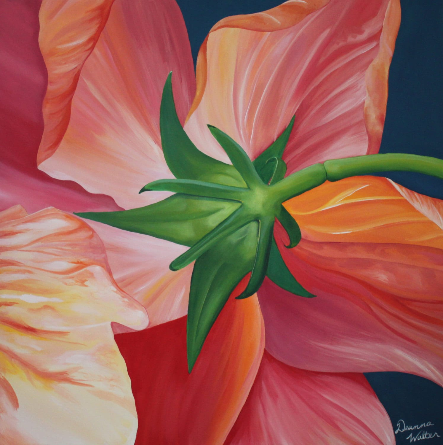 Bright pink red orange flower painting for Bright flower painting
