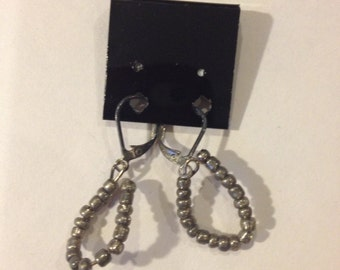 Silver Beads Dangle Earrings