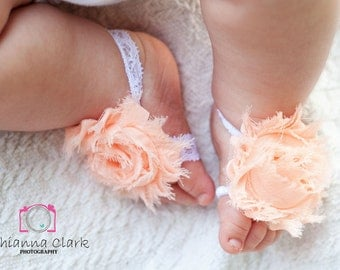 Peach and White Lace Barefoot Sandals