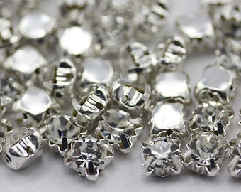6mm SS30 Crystal Clear Sew on Diamante Rhinestone Rose Montee Beads - 25 Pieces