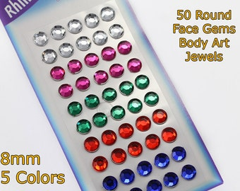 50 Assorted Colors 8mm Round Stickers Face Gems Stick On Body Jewels Self Adhesive Rhinestones
