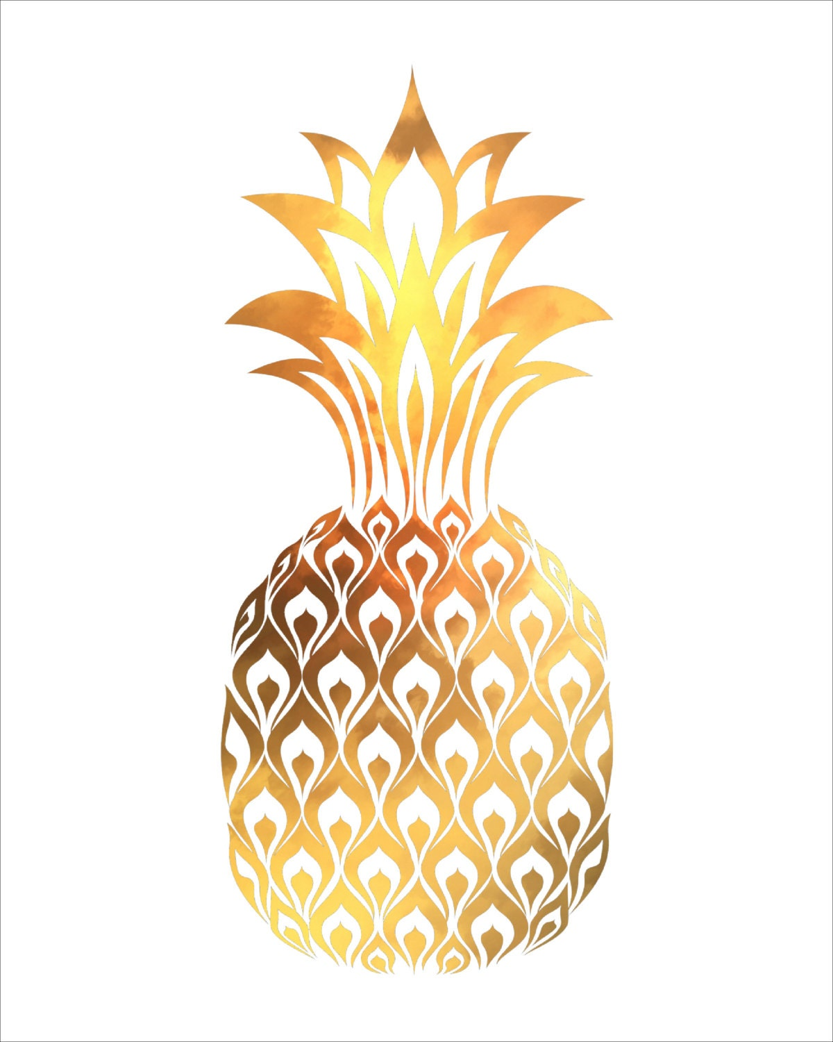 PINEAPPLE Watercolor Painting Art Print 5 x by ...