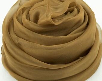 Golden Rod Silk Chiffon Scarf - Golden Brown Silk Scarf - AS238