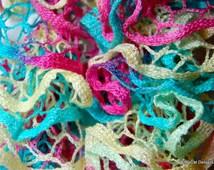 Crochet Ruffle Scarf - Premier Starbella Ruffle Yarn CHEERS Pastel Colors- Pink, Blue, Christmas gift, Holiday gift, Secret santa, Free gift