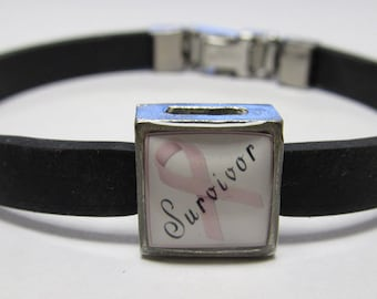 Breast Cancer Survivor Awareness Pink Ribbon Link With Choice Of Colored Band Charm Bracelet