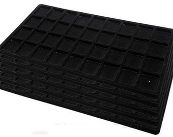 New 4 Black Insert Tray Liners W/ 36 Compartments Drawer Organizer storage