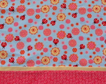 Lady Bug Pillowcase, Buttery Soft Flannel Pillow Cases Standard Size, Pale Blue with Red Lady Bugs, Orange, Pink and Yellow Flowers