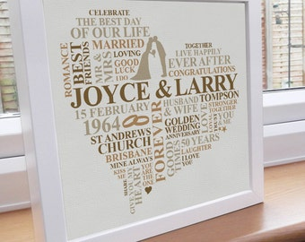 Wedding Gifts For 25th Anniversary : print golden anniversary personalised gift happy anniversary ...