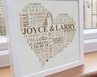 25th Wedding Anniversary Gift Ideas Uk : print golden anniversary personalised gift happy anniversary ...