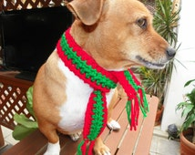 Dog Scarf Neck Warmer Christmas Dog Scarf  Red and Green Sizes XXSmall-XXXLarge