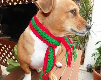 Dog Scarf Neck Warmer Christmas Dog Scarf  Red and Green Sizes XXSmall-XXXXLarge