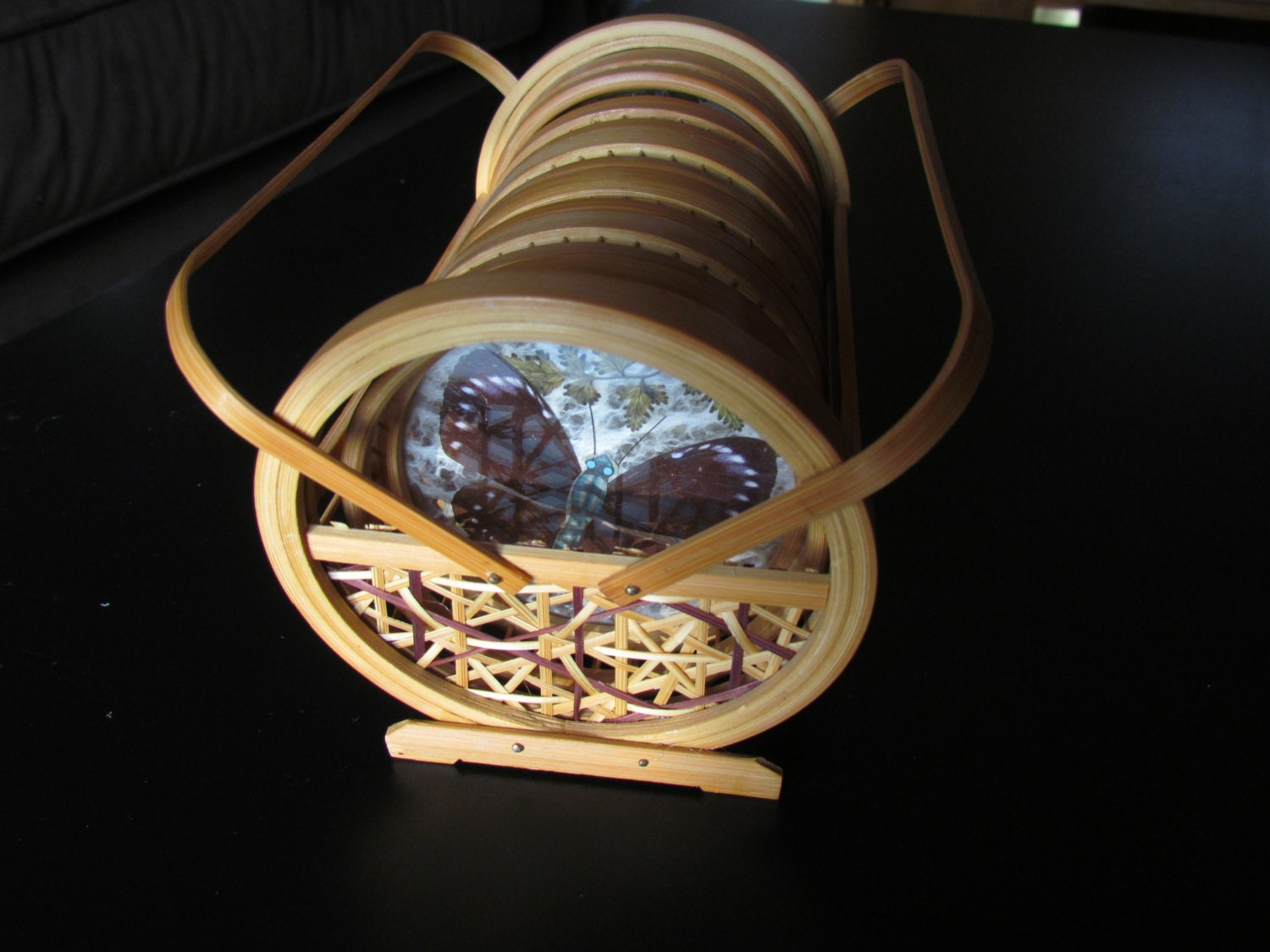 Butterfly coaster set wicker bamboo caddy vintage for Funky canape trays
