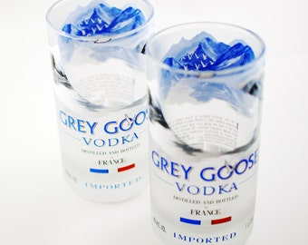 Two Grey Goose glass tall tumblers - upcycled recycled repurposed bottles