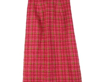 Vintage Pink Checked Full Length A-Line Skirt