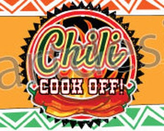 Chili Cook Off Water Bottle Labels. INSTANT DOWNLOAD