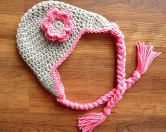 Crocheted Baby Girl Earflap Hat with Braided Ties and Flower, Silver Gray & Bubblegum Pink Earflap Hat, Size Newborn to 5T- MADE to ORDER