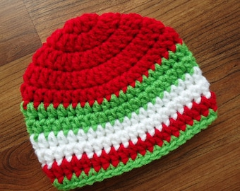 Crocheted Baby Boy Christmas Hat with Stripes, Crocheted Baby Beanie - Bright Red, Lime Green & White - Newborn to 5T - MADE TO ORDER