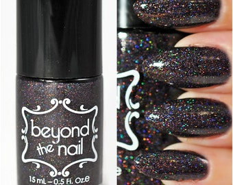 Holographic Black Microglitter Nail Polish