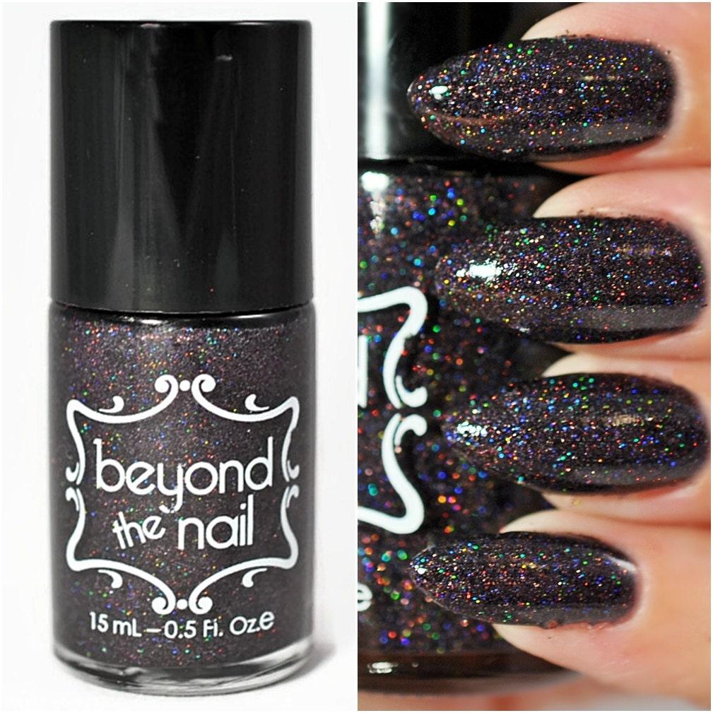 Dark Holographic Nail Polish: Holographic Black Microglitter Nail Polish