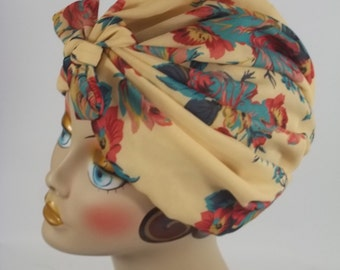 Silky georgette, fashion turban, hat, 1950s, beige, floral, full turban, vintage style, designer,  Sm, Med, L, XL. Free shipping in USA.