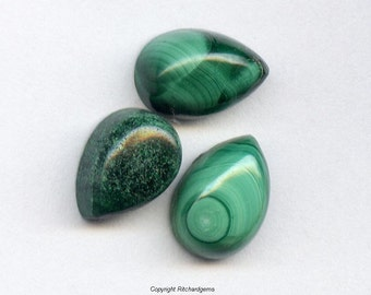 Natural 10x7mm Loose Pear 3.64 ct Malachite Cabochons for Three