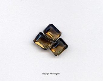 Semi Precious 8X6 mm Emerald Cut Smoky Quartz AAA For One US seller