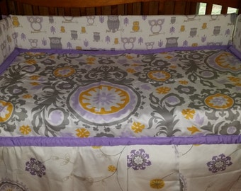 Lavendar and Grey Wisteria crib bedding set