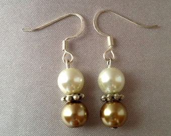 White and Gold Pearl Dangle Earrings