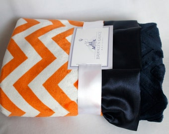 Orange and White Chevron with Solid Navy Blue Embossed Chevron on Reverse, Finished with a Navy Satin Trim, Girls, Boys, Baby