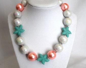 Coral Pink, Pearl White and Aqua Starfish Bubblegum Bead Necklace - Summer, Beach, Shells, Girls