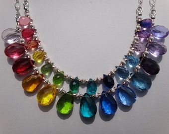 Rainbow Necklace AAA MULTI COLORS Corundum Quartz Micro Faceted Drop Briolettes Swiss Blue Topaz London Blue Topaz Amethyst Pink Amethyst