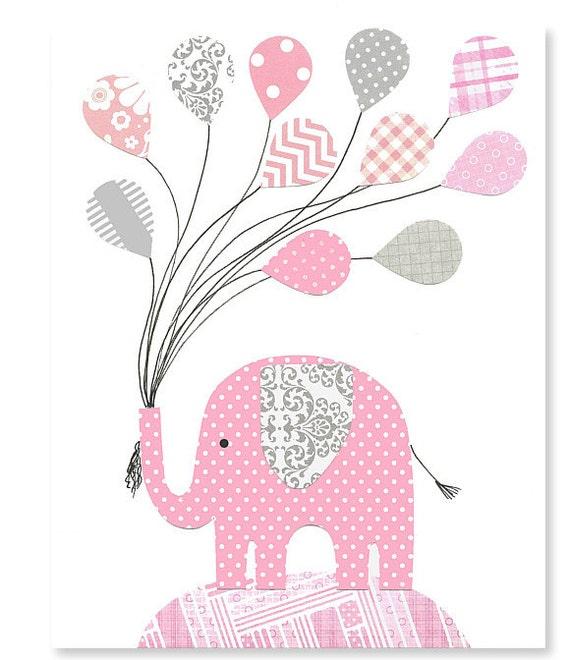 Gianna S Pink And Gray Elephant Nursery Reveal: Gray And Pink Elephant Nursery Wall Art By SweetPeaNurseryArt